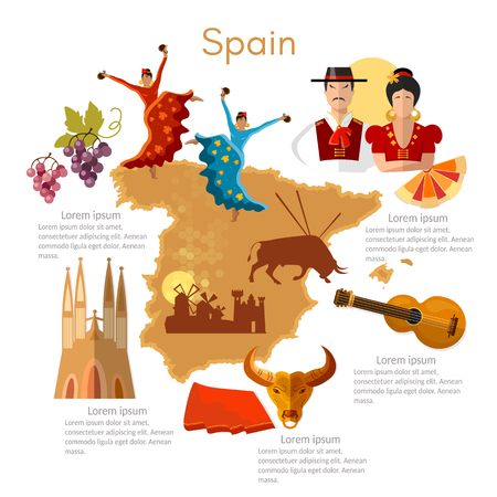 スペインのインフォ グラフィック。観光スポット、文化、伝統、地図、人々。テンプレート要素でスペイン