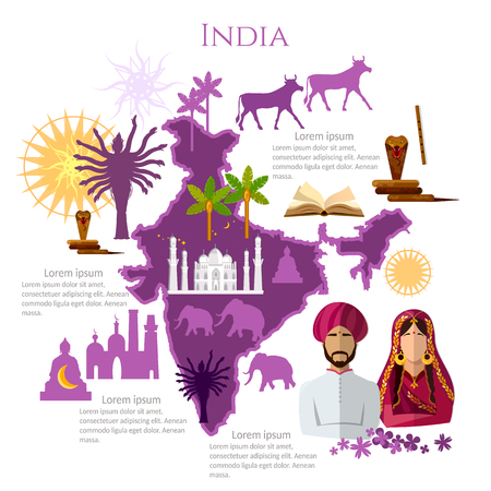 India infographics. sights, culture, traditions, map, indian people. India template elements