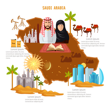 Saudi Arabia infographics. sights, culture, traditions, map, people. Saudi Arabia template elements