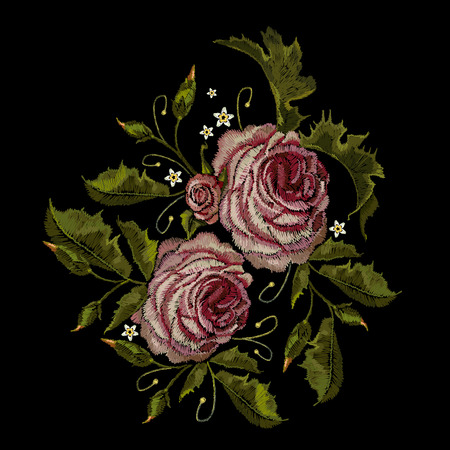 rose: Roses embroidery. Classical embroidery buds of roses. Fashionable template for design of clothes, t-shirt design, blossoming bouquets of roses embroidery tapestry flowers renaissance style