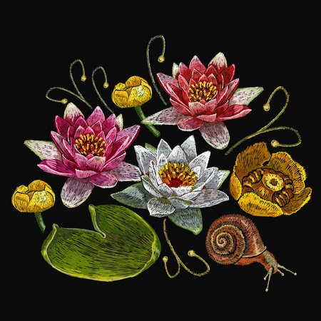 Water lily embroidery. Classical embroidery lotus and water lilies, template fashionable clothes, t-shirt design, print