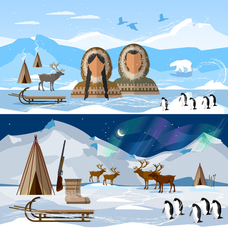 Wild north arctic banner, people in traditional eskimos costume and arctic animals. Life in the far north. Reindeer, polar day and polar night. Extreme journey to Alaska Vettoriali
