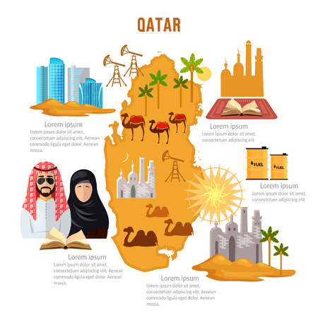 Qatar infographics sights, culture, traditions, map, people. Qatar template elements vector