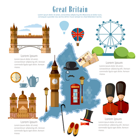 sights: Great Britain infographics. sights, culture, England traditions, map, people. Travel to Great Britain template elements Illustration