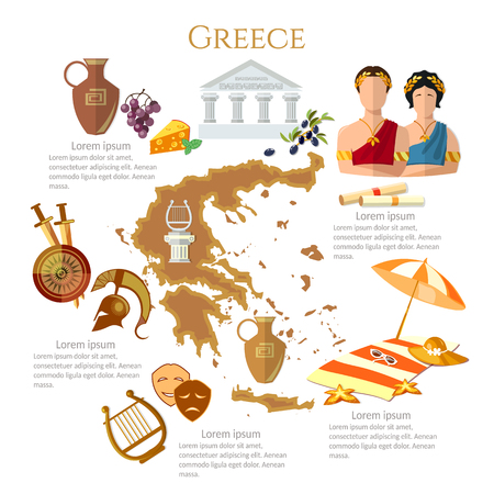 Ancient Greece and Ancient Rome infographics. sights, culture, traditions, map, ancient greece people. Template elements Illustration