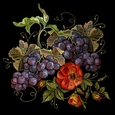 Embroidery cluster of grapes and peonies, beautiful still life. Classical embroidery grapes and flowers on black background, template fashionable clothes, t-shirt design, print, renaissance style