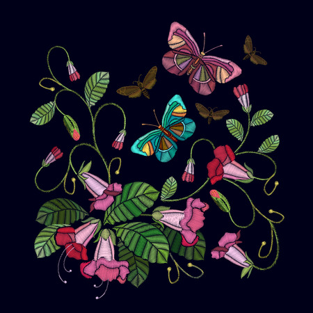 Embroidery flowers bells and butterfly. Fashionable template for design of clothes. Beautiful cornflowers, butterfly classical embroidery vector Illustration