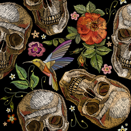 Embroidery skull and roses, humming bird and flowers seamless pattern. Dia de muertos art, day of the dead. Gothic embroidery human skulls and red roses, clothes template and t-shirt design 矢量图像