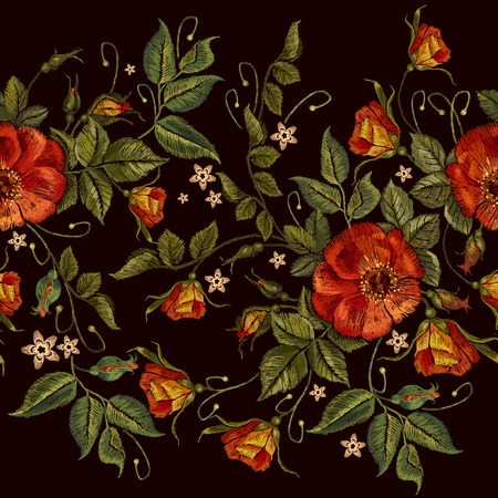 Embroidery wild red roses seamless pattern. Classic style embroidery, beautiful red roses seamless pattern vector. Fashionable template tapestry flowers renaissance