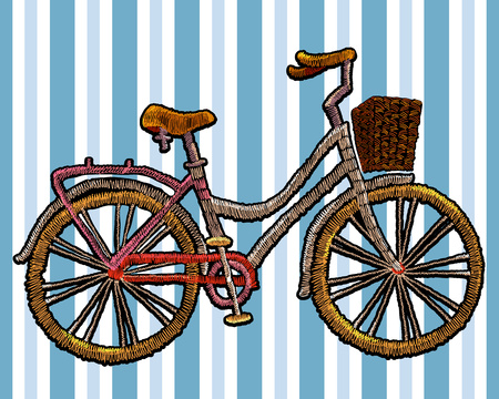 strip shirt: Embroidery bicycle with basket. Fashionable embroidery bicycle on white background in blue strip, spring art, template for romantic clothes, t-shirt design