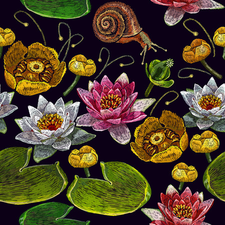 Water lily embroidery seamless pattern. Classical embroidery of pink and white lotuses and water lilies, template for fashionable seamless pattern clothes and t-shirt design vector Illustration
