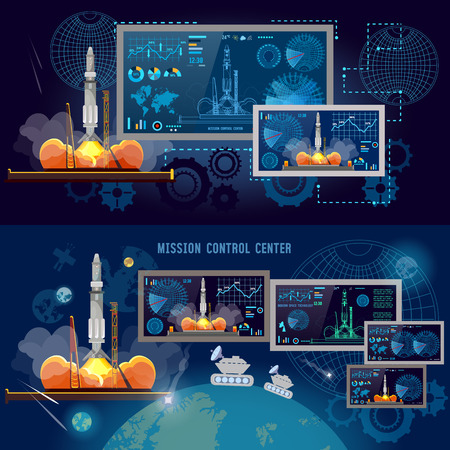 Space Mission Control Center,  Space shuttle taking off on mission, spaceport, start rocket in space. Modern space technologies, return report of start of rocket Ilustração
