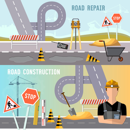 Road construction and road repair banner. Road works construction and repair elements vector Illustration