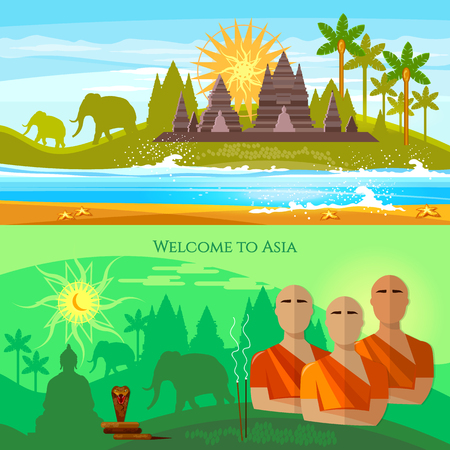 Traditions and culture of Asia banner. Religion, Buddhism, monks, temples, elephants and travel to the Asian countries illustration