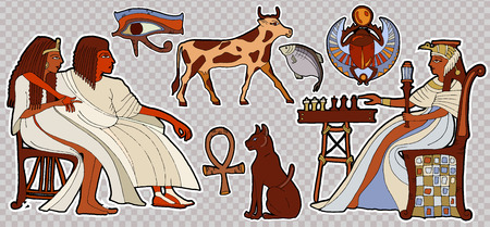 Fashion patch Ancient Egypt. Pharaoh, scarab, ankh, cat, chess.