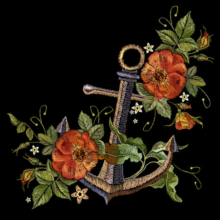Anchor and red roses embroidery. Classical fashionable embroidery vintage anchor and beautiful red bouquets of roses template for clothes.