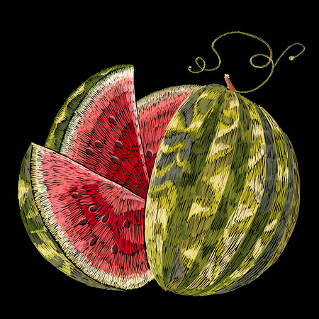 Embroidery watermelon. Beautiful ripe watermelon classical embroidery template for fashion clothes,  textile t-shirt design