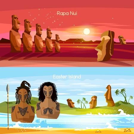 Los estandartes de la isla de pascua, estatuas de Moai de la isla de pascua ajardinan la Polinesia. Ídolos de piedra. Turismo y vacaciones de fondo tropical. Gente de Isla de Pascua, tradición y cultura Foto de archivo - 82623780