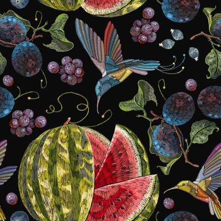 Embroidery hummingbirds, plum, grapes watermelon seamless pattern. Beautiful classical embroidery tropical birds  humming bird fruit watermelons and  blossoming plum summer seamless pattern Illustration