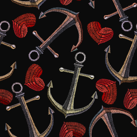 Embroidery anchor and heart seamless pattern. Sea pattern embroidery vintage anchor and romantic hearts, clothes and t-shirt design. Summer pattern Vector Illustration