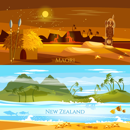 New Zealand banners. Tradition and culture New Zealand. Mountains and beach landscape, natives. Village of aboriginals Maori of New Zealand Illustration