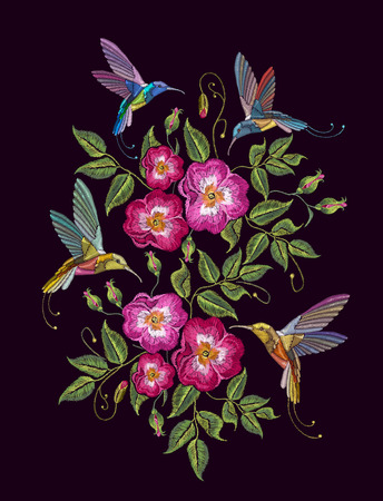 Humming birds and wild roses embroidery on black background. Elegant flowers  dogrose and tropical humming bird vector. Decorative floral embroidery fashion template for clothes, t-shirt design