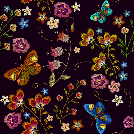 Embroidery flowers and butterfly seamless pattern. Fashionable template for design of clothes. Beautiful chamomiles and butterfly, cornflowers, classical embroidery seamless background, t-shirt design