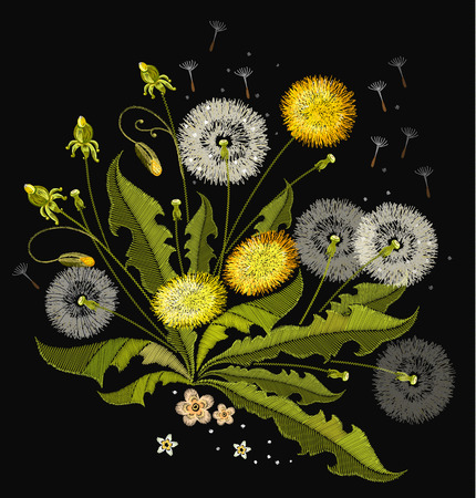 Dandelions embroidery. Beautiful dandelions, summer flowers, classical embroidery, template for clothes and textiles, t-shirt design