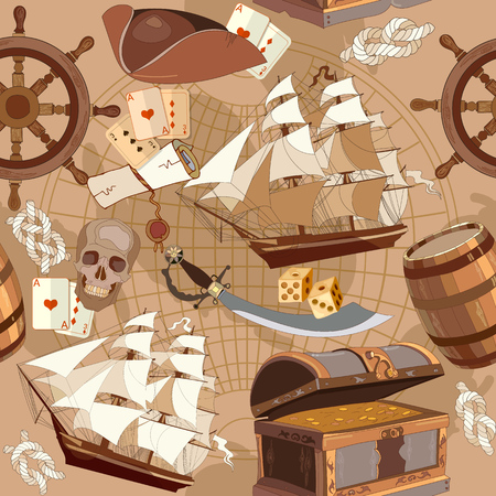 Old pirate treasure map seamless pattern, adventure stories concept. Treasure chest, steering wheel, skull, rum saber pirate hat. Pirate adventure stories seamless background