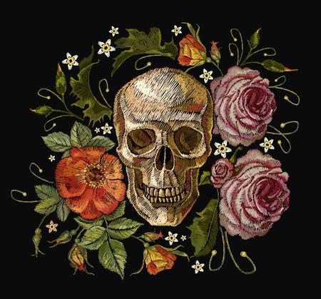 刺繍のスカルと赤のバラ。ダイヤ ・ デ ・ ムエルトス、死の芸術の日。ゴシック romanntic 刺繍人間の頭蓋骨の赤いバラとピンクの牡丹、服テンプレ