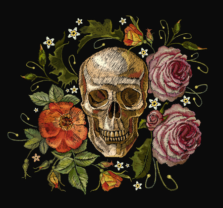 Embroidery skull and red roses. Dia de muertos, day of the death art. Gothic romanntic embroidery human skulls red roses and pink peonies, clothes template and t-shirt design vector art