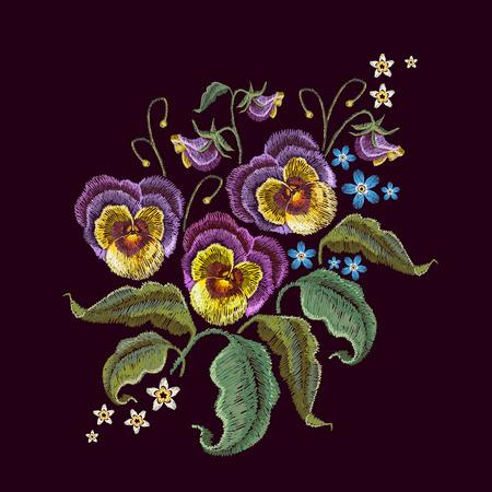Broderie de fleurs violettes. Broderie classique de belles fleurs de violette sur fond transparent noir. Modèle de conception à la mode des vêtements