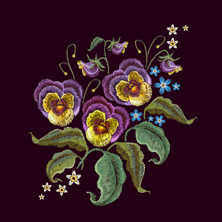 Violets flower embroidery. Classical embroidery beautiful flowers of violet on black seamless background. Fashionable template design of clothes