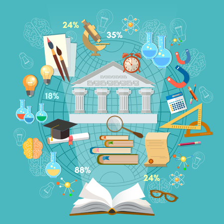 Education infographics concept vector. Open book of knowledge school background education infographics technology vector Иллюстрация
