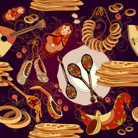 Russian cuisine seamless pattern, pancakes, balalaika. Russian culture and traditions seamless background