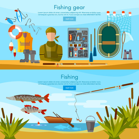 Summer fishing banner, professional fisher elements vector template