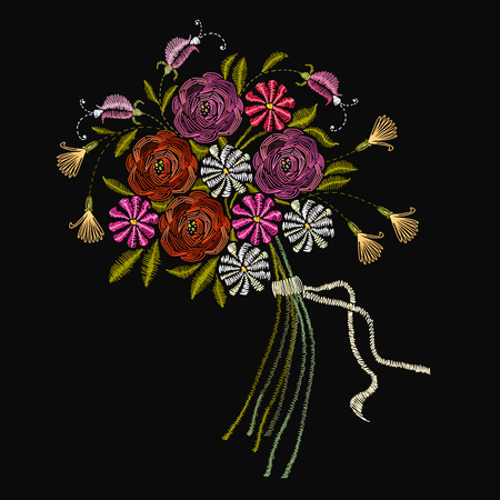 Embroidery bouquet of summer flowers. Roses, chamomiles, a classical embroidery  bouquet of beautiful flowers on a black background. Fashion template for clothes, textiles, t-shirt design