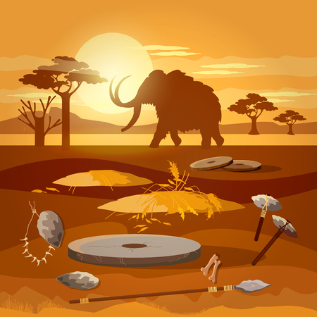 Stone age. Hunting for mammoth, prehistoric tool. Neolithic, paleolith, mesolith, beginning of a civilization. Caveman art