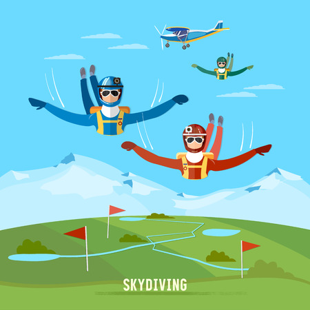 free diver: Skydiver jumps from an airplane vector. Teamwork extreme sport concept. Skydivers are falling above the cloud Illustration