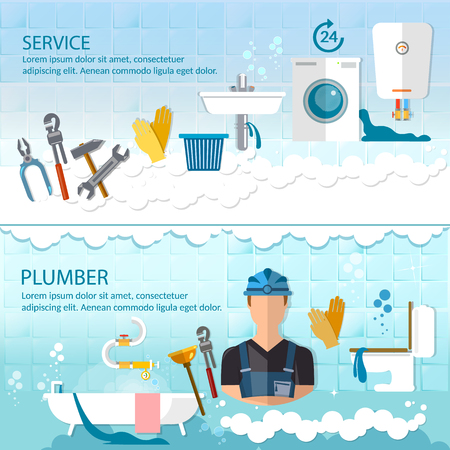 Professional plumber banner plumbing service different tools and accessories, pipe repair, elimination of leaks. Call plumber concept Illustration