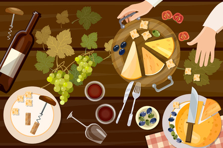 Wine and cheese tasting top view wine bottle and grapes on wooden table vector illustration. Served table for romantic dinner. Tasting of wine and cheese