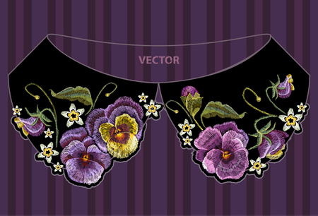 Broderie au col violettes fleur. Broderie classique de belles fleurs de violette sur fond noir. Design à la mode des vêtements, conception de t-shirt