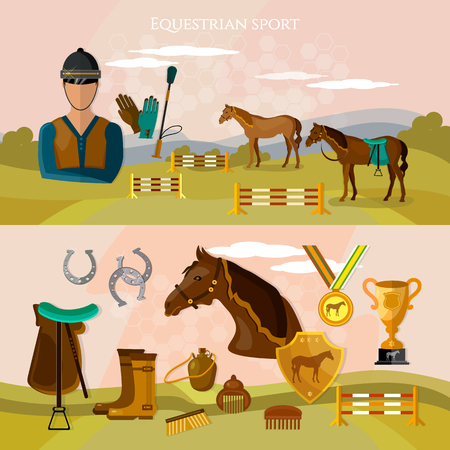 Equestrian sport banner professional jockey club horse racing banner. Horse riding vector Illustration