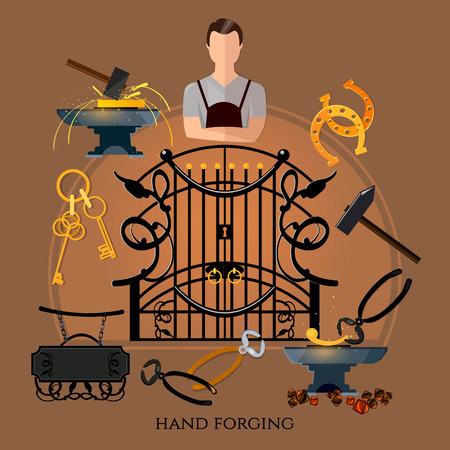 Professional smith vector. Forging on gland, creation of iron fencings and fences. Iron works. Blacksmith hammer and anvil, work in smithy Ilustração