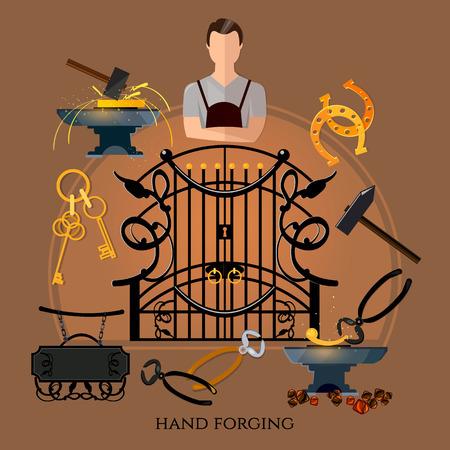 Professionele smith vector. Smeden op klier, creatie van ijzeren hekken en hekken. Iron werkt. Smid hamer en aambeeld, werk in smithy Stockfoto - 83819788