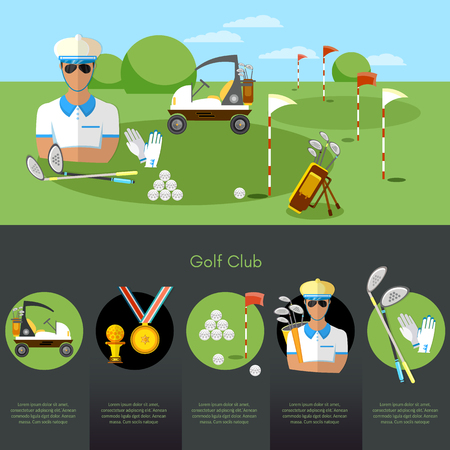 Golf sports championship infographic. Equipment for golf sport competitions golfing elements concept