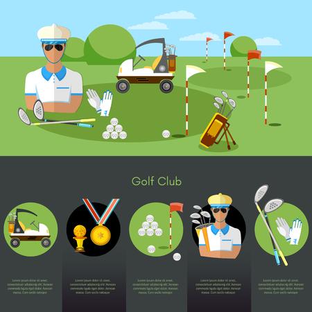 Infographie de championnat de sport de golf. Equipement pour les compétitions de sport de golf concept d'éléments de golf Vecteurs