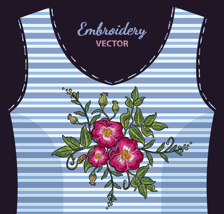 Embroidery wild rose, dogrose flowers on undershirt in blue strip. Fashionable embroidery roses, spring art, template for romantic clothes, t-shirt design art Illustration