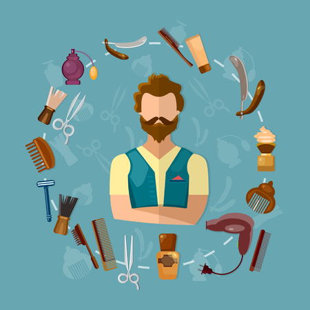 Barbers shop hairstylist hipster, composition of set of icons for barber shop vector Illustration
