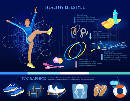 Healthy lifestyle banner eating diet sports and gymnastics infographic. Fitness training. Sport for weight loss, a slim figure, a healthy lifestyle